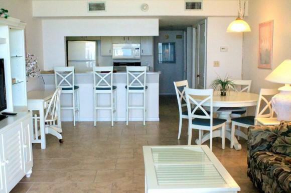Ceramic tile throughout kitchen and living room. - Beach Condo Rental 404 - Cape Canaveral - rentals