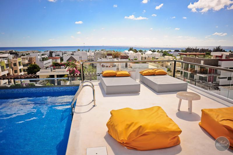 Amazing views of the city and the sea from the rooftop - Near to the beach, 2 bedroom condo for 6 - Playa del Carmen - rentals