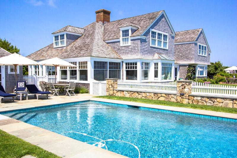 Pool, Patio, and Sunporch - AGARH - Estate Waterfront Luxury Home,  Private Pool, Spectacular Waterviews - Edgartown - rentals