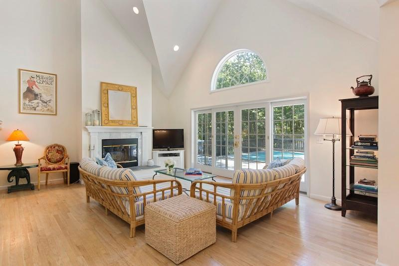 Open Livingroom with french sliding doors leading to pool area - East Hampton Retreat - East Hampton - rentals