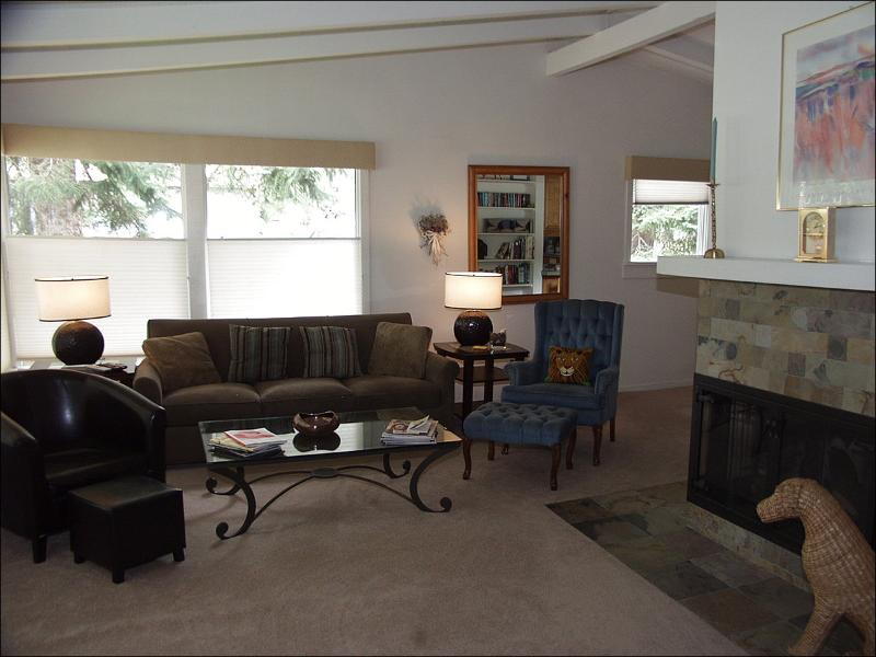 Living Room with Wood Burning Fireplace - Aspen West Side Home - Quiet Neighborhood (3964) - Aspen - rentals