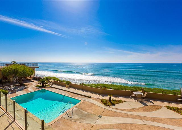 Del Mar Beach and Tennis Club ocean front pool is a short one minute walk away  from the condo - Beach Condo in Sunny Solana Beach - Steps to Beach and Pool - Solana Beach - rentals