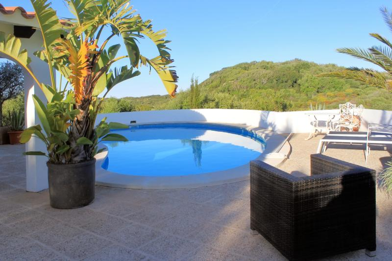 Swimming pool view - Lovely villa in Menorca, near Es Grau, with 3 bedrooms, swimming pool, WiFi and - Minorca - rentals