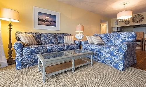 Living Room, View 01 - Queen's Grant F-118 - Dynamic Oceanfront View, Pool, Hot Tub, Boat Ramp & Dock - Topsail Beach - rentals