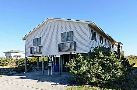 Street Side Exterior (rental side on left) - Marebello - SAVE UP TO $190!! Marvelous Oceanfront View! - North Topsail Beach - rentals