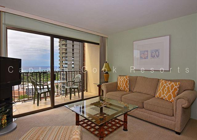 Secure, 17th floor ocean-view studio with AC, washlet, WiFi & parking! - Image 1 - Waikiki - rentals