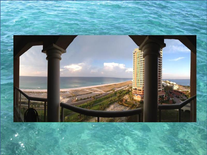 Panoramic beach and bay views from the balcony. - Gulf Front Condo- Amazing Beach and Bay Views! - Pensacola Beach - rentals
