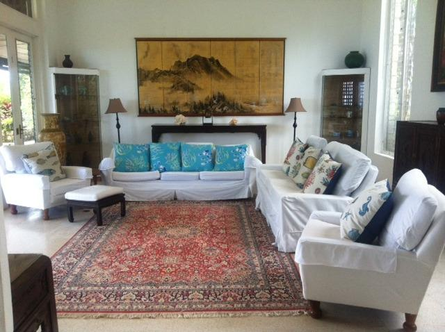 High ceiling, cool stone floors, Asian art, stunning silk rug, dreamy couches, high end a/v - Norse Hill Estate, 4 bd/bth, 5 staff, pool, 8acres - Port Antonio - rentals