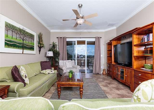 Our spacious, comfy living room is just right for gathering - 932 Cinnamon Beach, Sleeps 9, HDTV, Wifi, 2 heated pools - Palm Coast - rentals