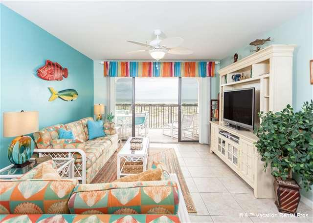 Kick back, relax, and watch a bit of TV on our HDTV - Sea Place 11208, Direct Ocean Front unit, pool, tennis - Saint Augustine - rentals