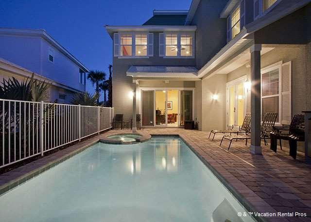 Enjoy the pool and patio area! - Camelot, 7 Bedrooms, HDTVs, Pool, Spa, Elevator, Theater - Palm Coast - rentals