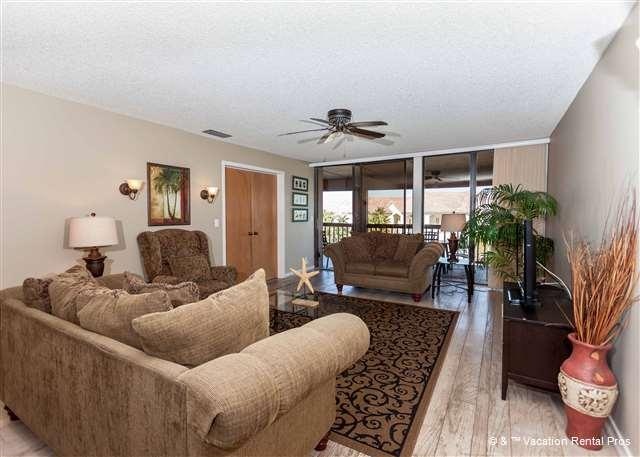 Newly refurnished and so comfy, the living room awaits! - Hibiscus 302-D Ocean View, 3rd floor, 3 bedrooms, 3 pools, HDTV - Saint Augustine - rentals