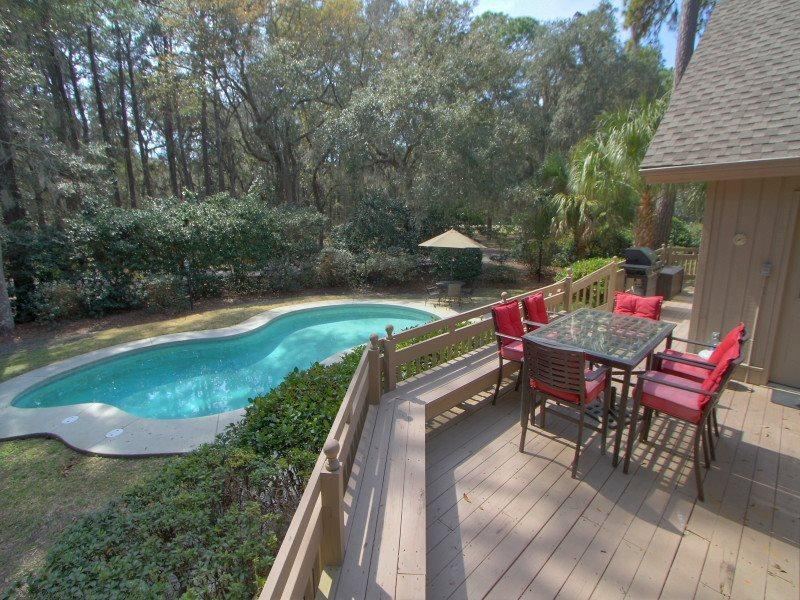 Large Deck and Pool Area at 2 Jessamine Place in Sea Pines - 2 Jessamine Place - Sea Pines - rentals
