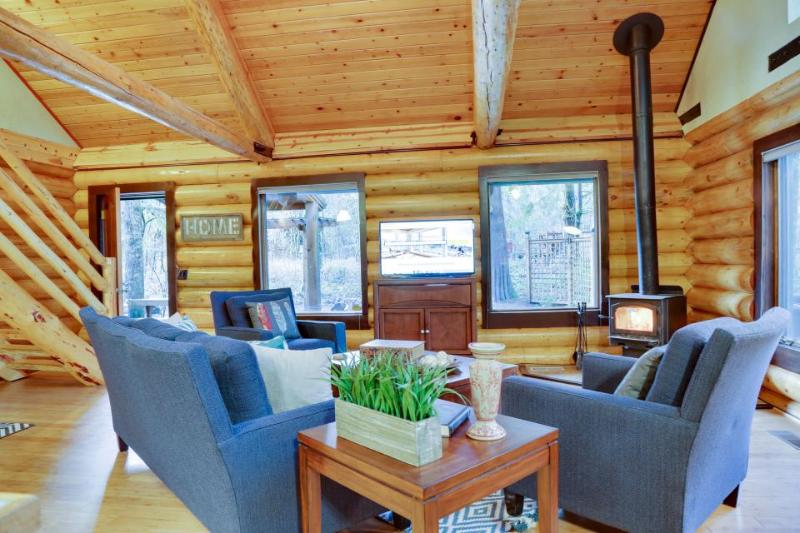 Beautiful, dog-friendly cabin on the river with private hot tub & shared pool - Image 1 - Brightwood - rentals