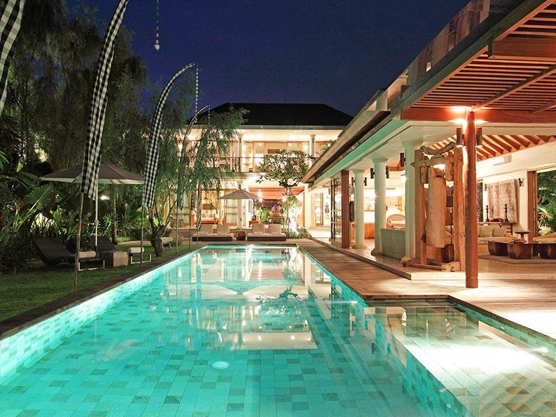 Dea Sarasvati - Pool-area-at-night-overview - Villa Sarasvati - an elite haven - Canggu - rentals