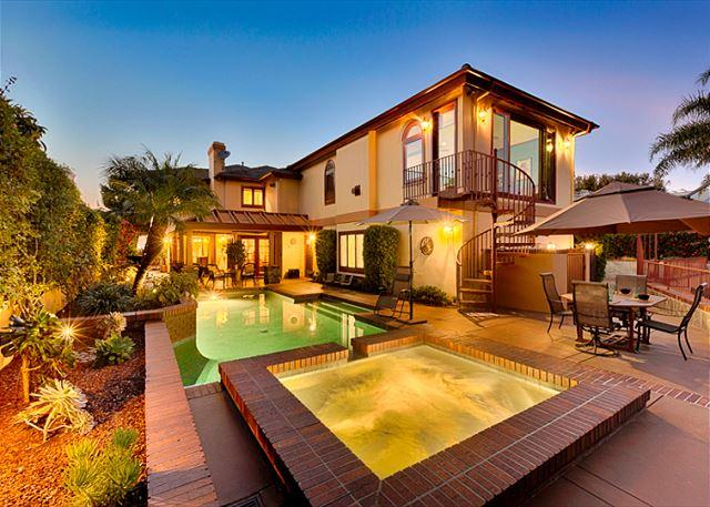 Family Gathering Pool/Spa Patio. 2 Dining Areas, 2 Patio Heaters, Umbrella, BBQ - Luxury Family Estate - Private Pool & Spa, Panoramic Views, Amazing Sunsets - San Clemente - rentals