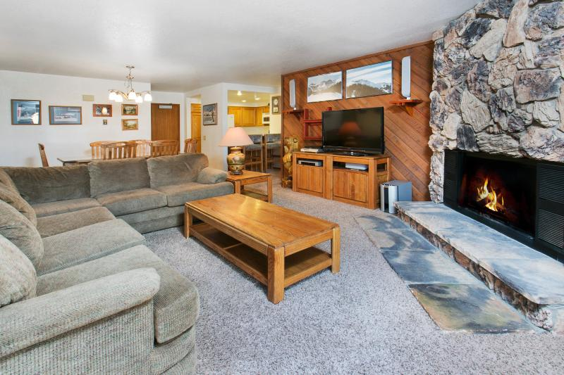 Aspen Creek #107 Living Area With A Wood Burning Fireplace And A Queen Sofa Bed - Aspen Creek 107 - Mammoth Condo - Near Eagle Lift - Mammoth Lakes - rentals