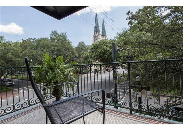 View from the balcony- a fabulous place from which to watch the St. Patrick's day Parade! - Spacious two bedroom with a private balcony overlooking Liberty Street - Savannah - rentals