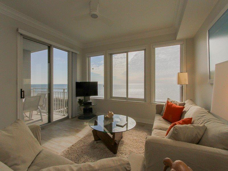 Living Room with Unobstructed Ocean Views at 3402 Sea Crest - 3402 Sea Crest-Newly Renovated Kitchen in 2015 - Hilton Head - rentals