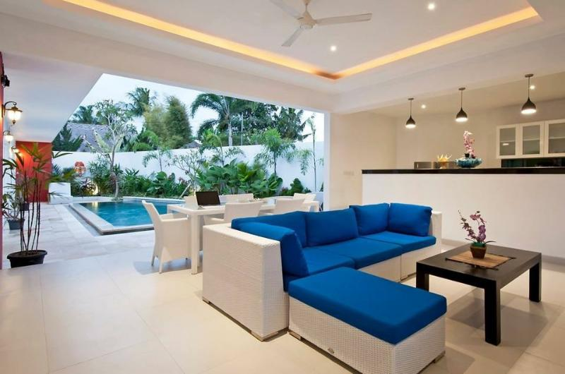 The comfortable living area flows into the lovely outdoor pool - Superb Value, 5 Bdr Villa, Great Location! - Seminyak - rentals