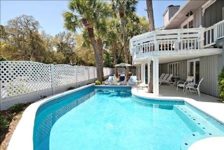 Pool View - 'Almost' Oceanfront 2nd Row Beach Home, Newly Redecorated, Private Pool/Spa - Hilton Head - rentals