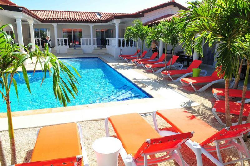 your Garden Suite is located at this beautiful pool - view at your roofed terrace - Swiss Paradise Aruba Garden Suite 3-51 - Noord - rentals