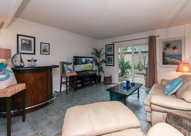 Living Area - 13 Ocean Club - Fully Renovated Townhouse w/ Private Patio - Hilton Head - rentals