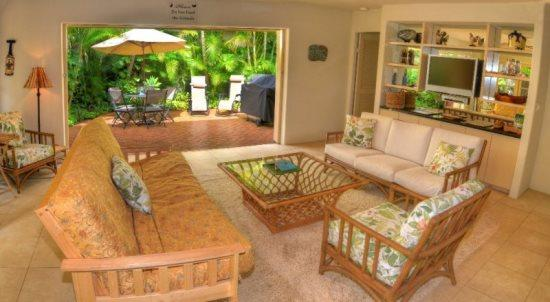 living room - Free Car* with Kipuka Hale private home, both bedrooms have ensuite bathrooms and a/c. Recently remodeled! - Poipu - rentals