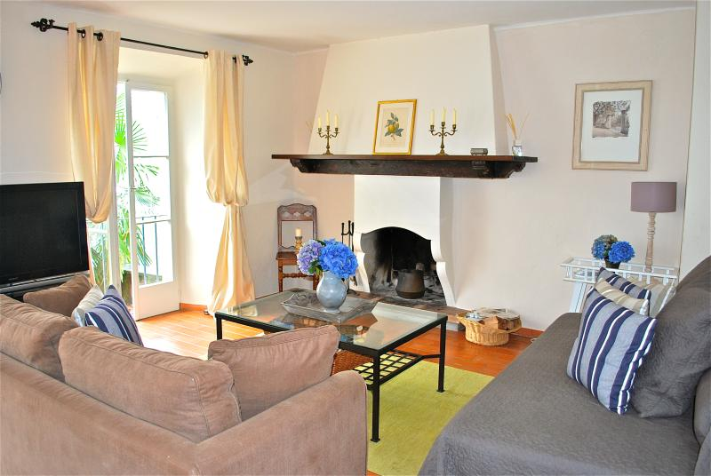 Living room with large flat-screen tv, wood-burning fireplace & all windows overlooking Lago Maggi - Charming & Beautiful Lakefront Apt, Lago Maggiore - Lake Maggiore - rentals