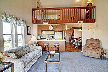 Living Room - Surf Condo 531 - Wonderful Ocean View, Simple Design, Pool, Beach Access, Onsite Laundry - Surf City - rentals