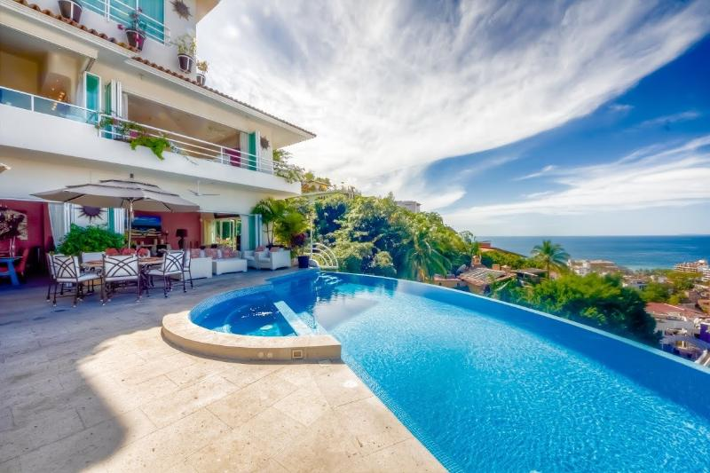 Pool and terrace with stunning ocean view - Casa Yvonneka,  rents as 6-12 Bdrms PTO Vallarta - Puerto Vallarta - rentals