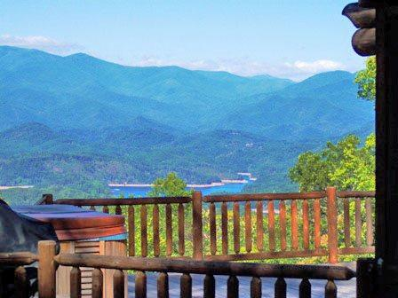 Big Timber Lodge, Minutes from the Great Smoky Mountain Railroad - Big Timber Lodge - Unforgettable View of the Mountains and Fontana Lake from this Upscale Cabin with Outdoor Fireplace, Hot Tub, and Wi-Fi - Almond - rentals