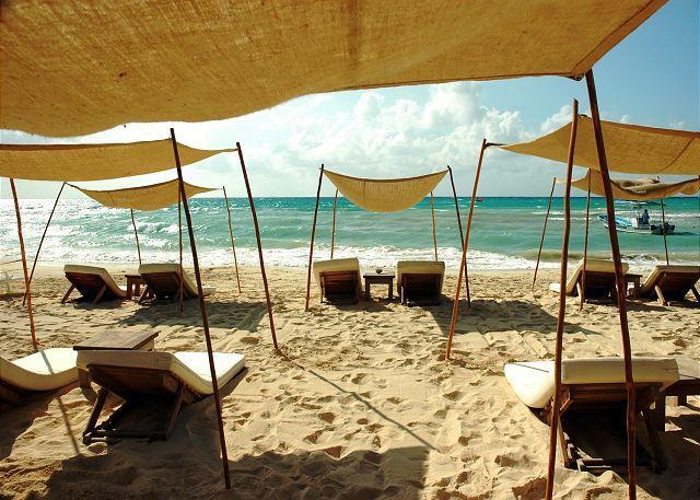 Beach and Caribbean in front of Corto Maltes - 3 Bdrm Oceanfront in Corto Maltes (CM101) - Playa del Carmen - rentals