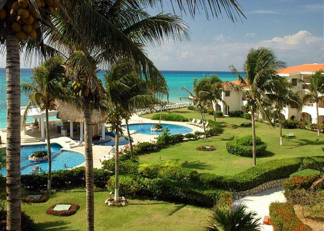 View from the Xaman Ha 7212 terrace - Oceanfront with pool 3 bedroom in Xaman Ha (XH7212) - Playa del Carmen - rentals
