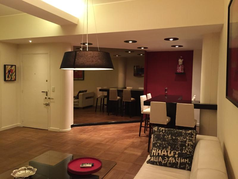 View of the apartment entrance and dining area > evening - Luxury, chic & stylish 2-BR in Recoleta - Buenos Aires - rentals