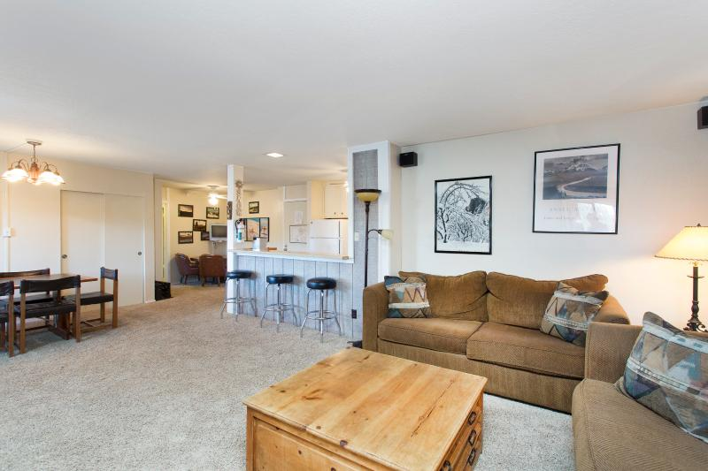 The Summit #F29 Living Area With A Wood Burning Fireplace And Two Queen Sofa Beds - Summit F29 - Mammoth Condo - At Base of Eagle Lift - Mammoth Lakes - rentals