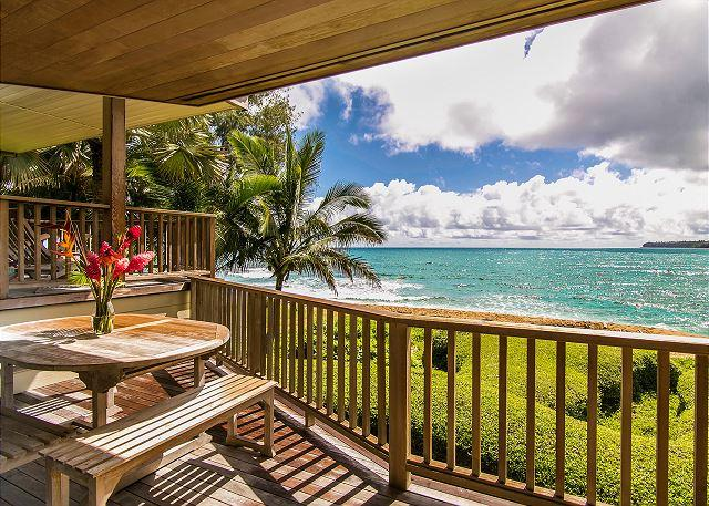 Outside Lanai - 15% Off Available Winter Dates! Gorgeous Beachfront Haena Home! Amazing views - Hanalei - rentals