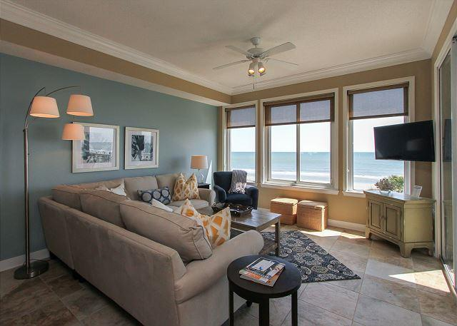 Living Area - 3304 SeaCrest -Direct Oceanfront  & Beautifully Upgraded - Hilton Head - rentals