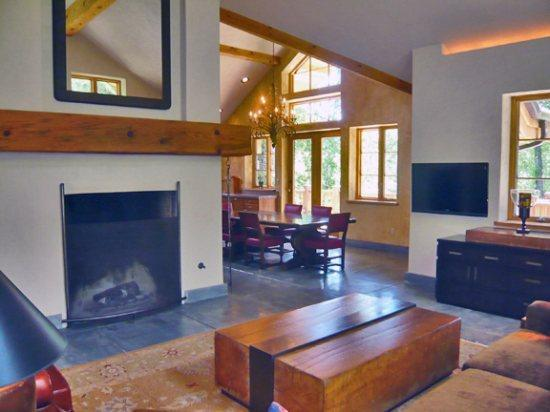 Living Room with large wood burning fireplace  - Wood River Drive #575- Contemporary Home Near Big Wood River - Ketchum - rentals