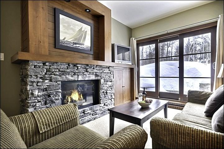 Elegant Living Room Features a Stone Fireplace - Lovely Forest Views - Modern Design & Tasteful Furnishings (6196) - Mont Tremblant - rentals