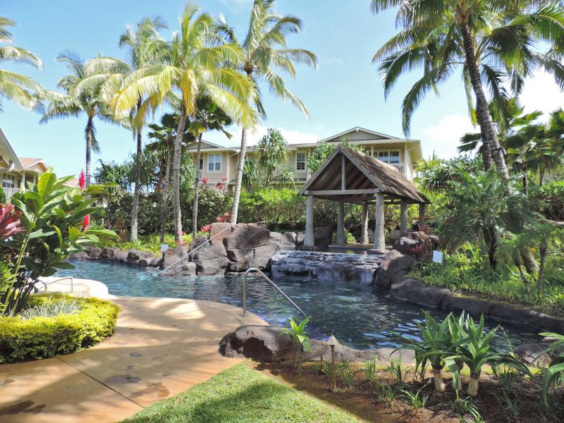 Outstanding pool with waterfalls surrounded by lush tropical gardens. - Luxurious quite Princeville condo.Gorgeous Pool! - Princeville - rentals