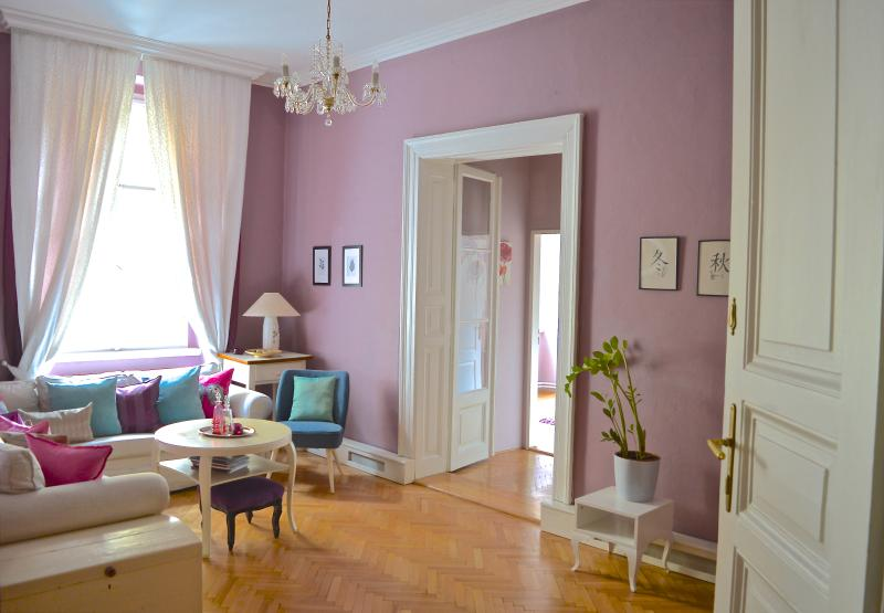 Sunny living room with original parquet floors, restored French doors to bedroom. - Elegance, style, space, Apt off Wenceslas square - Prague - rentals