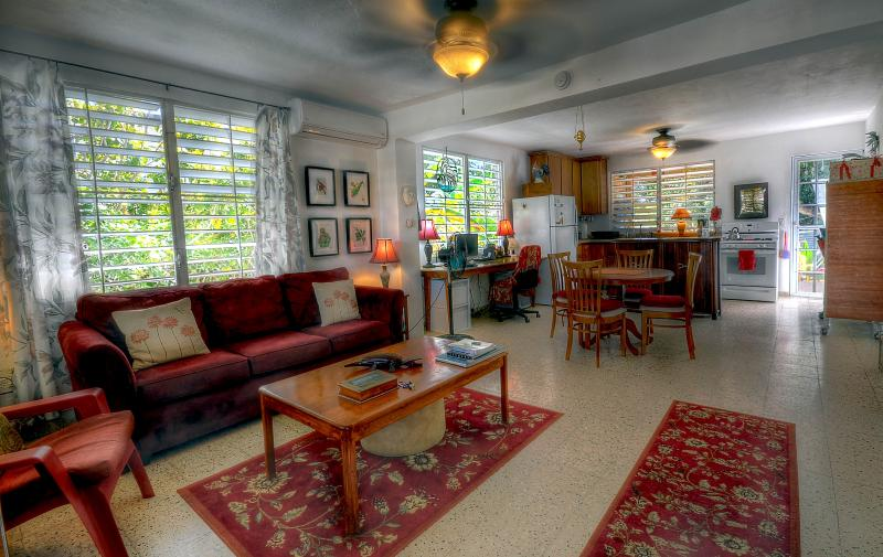 Living Room is a large open space, airy & bright. - Close to Everything!  Large 2 bdrm in ESPERANZA - Isla de Vieques - rentals
