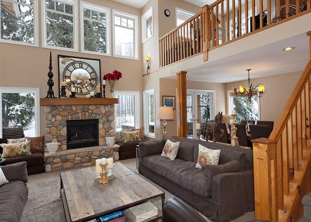 Main Living Area with 18' Ceilings - Fairview Chalet | Family Media Room, Wood-Burning Fireplace, Private Hot Tub - Whistler - rentals