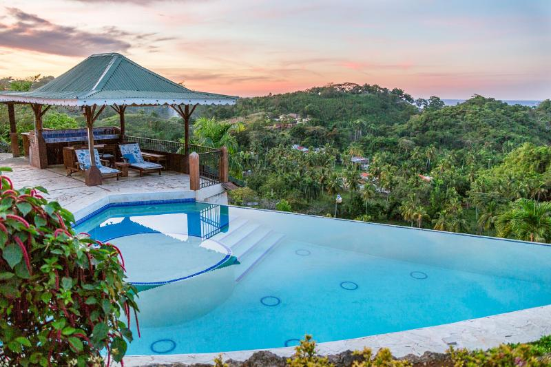 Pool area at sunset. - Monte Placido-R, Hilltop Ocean View, Infinity Pool - Las Terrenas - rentals