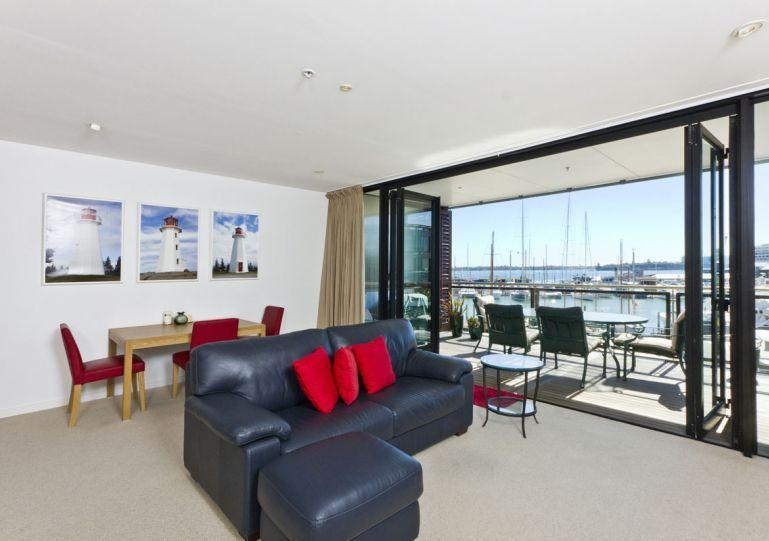 Large sliding doors open out onto the balcony. WiFi and My Sky TV are included. - Prestigious Waterfront Apartment in The Point, Viaduct Harbour, Auckland - Auckland - rentals