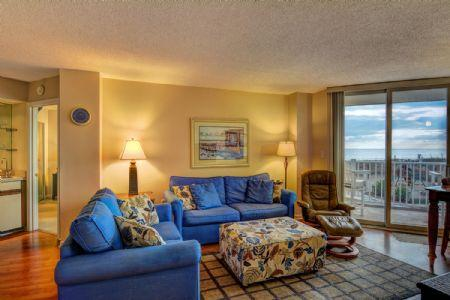 Living Room - ST. Regis 1104 - North Topsail Beach - rentals