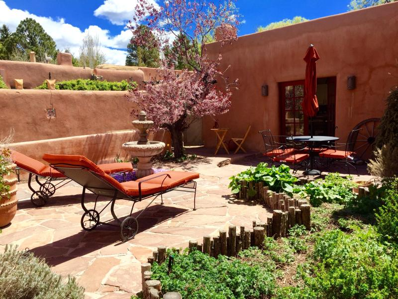 Private patio with dining, chaise lounges, fountain andcBBQ - Luxury,Walk Everywhere, Private Hot , June10%OFF!! - Santa Fe - rentals
