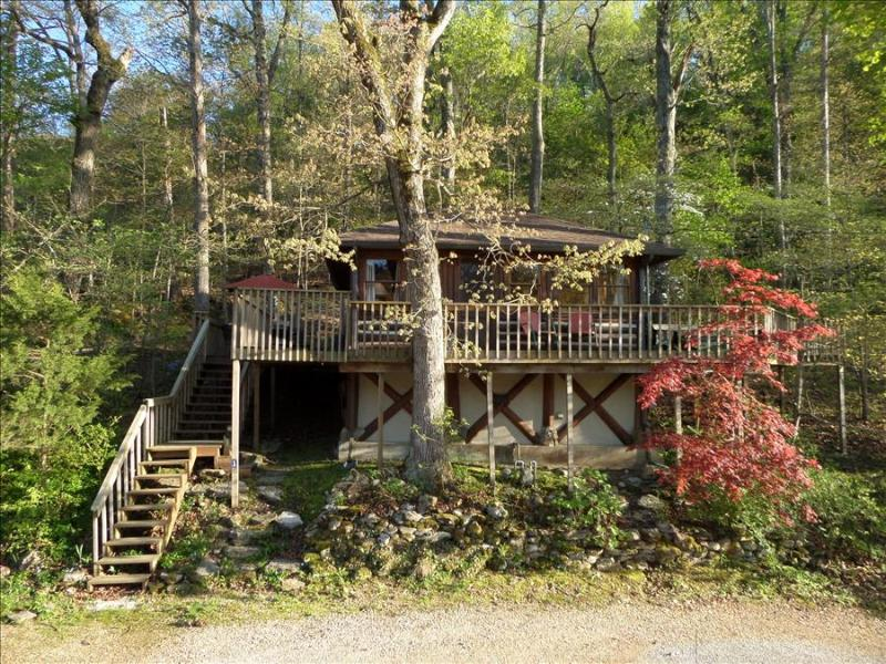 Lake Lucerne 1930s Treehouse Cabin - Lake Front, Amazing View, Large Decks, Authentic Architecture - Image 1 - Eureka Springs - rentals