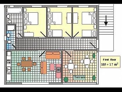 A1(8+1): floor plan - 8134  A1(8+1) - Podgora - Podgora - rentals